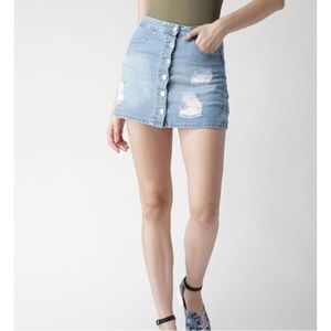 Forever 21 Distressed Jeans Skirt Button Front S